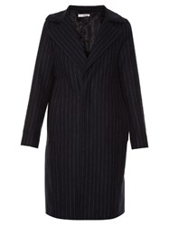 Golden Goose Single Breasted Pinstriped Coat Navy