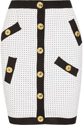Boutique Moschino Polka Dot Knitted Mini Skirt White