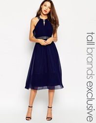 Little Mistress Tall Embellished Halter Midi Dress With Open Back Navy