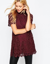 Asos All Over Lace High Neck Tunic Burgundy