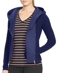 Lauren Ralph Lauren Asymmetrical Zip Cotton Hoodie Blue