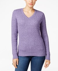 Karen Scott Petite Cable Knit Marled Sweater Only At Macy's Purple Bliss Marl