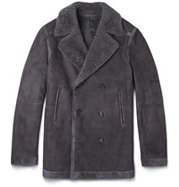 Brioni Double Breasted Suede Trimmed Shearling Jacket Gray