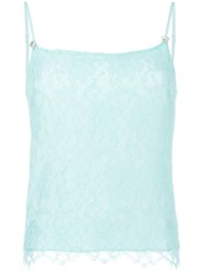Christopher Kane Floral Lace Cami Top Green