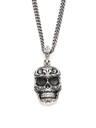 King Baby Studio Sterling Silver Carved Baroque Skull Pendant Necklace