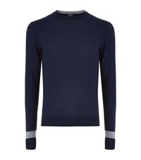 Hardy Amies Colour Block Merino Wool Jumper Male Navy