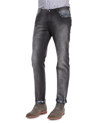 Etro Faded Slim Fit Jeans With Paisley Detail Black