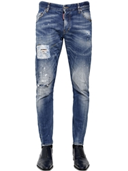 Dsquared 16Cm Sexy Twist Orange Spot Wash Jeans Blue