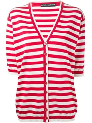 Dolce And Gabbana Striped Cardigan Red