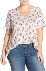 Plus Size Women's Sejour V Neck Tee Grey Red Dragonfly Print