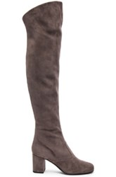 Saint Laurent Suede Bb Thigh High Boots In Gray