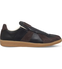 Maison Martin Margiela Replica Slip On Leather And Suede Trainers Black