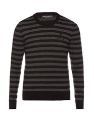 Dolce And Gabbana Striped Crew Neck Wool Sweater Grey Multi