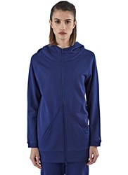 Y 3 Long Zip Up Hooded Sweater Blue