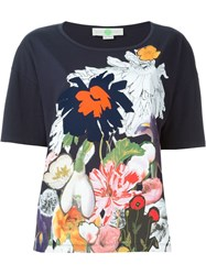 Stella Mccartney Floral Print T Shirt Blue