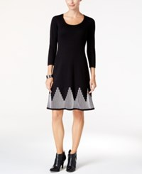 Nine West Fit And Flare Sweater Dress Black