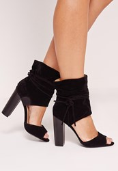 Missguided Block Heeled Ankle Cuff Sandals Black Black