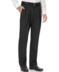 Haggar Big And Tall Cool 18 Pleated Microfiber Dress Pants Black
