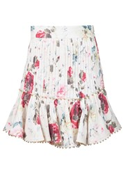 Zimmermann Floral Peplum Skirt White