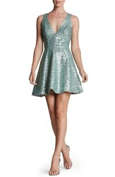 Women's Dress The Population 'Carrie' Sequin Fit And Flare Minidress Mint Grey