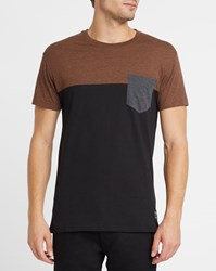 Iriedaily Brown Block Pocket Contrast Round Neck T Shirt