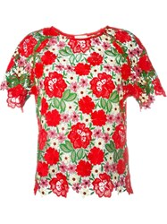 P.A.R.O.S.H. Floral Lace Top Red