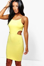 Boohoo Cut Out Side Mini Bodycon Dress Yellow