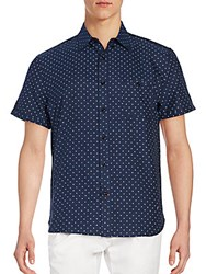 Sovereign Code Welton Dot Print Button Down Shirt Navy
