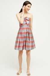Anthropologie Ribboned Plaid Dress Pink