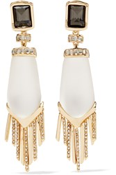 Alexis Bittar Gold Tone Stone And Crystal Clip Earrings Metallic