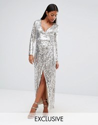 Club L Straight Sequins Wrap Over Maxi Dress Silver Gold