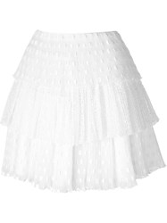 Giamba Tiered Pleated Mini Skirt White