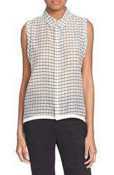 Superfine Women's 'Clap' Check Sleeveless Sheer Top