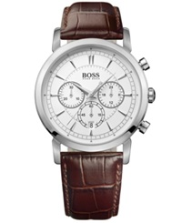 Hugo Boss Watch Men's Chronograph Brown Leather Strap 42Mm 1512871