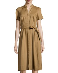 Lafayette 148 New York Braelyn Belted Short Sleeve Shirtdress Chai