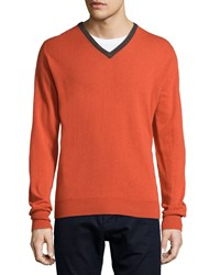 Ike Behar Contrast Trim Cashmere Sweater Orange