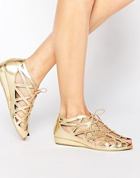 Park Lane Cut Out Gladiator Leather Flat Sandals Gold Metallic