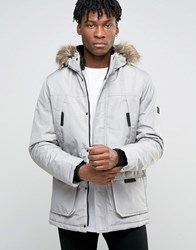 Jack And Jones Parka With Faux Fur Hood Grey White