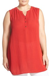 Sejour Plus Size Women's Sleeveless Gauze Tunic Red Samba