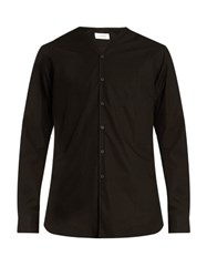 Christophe Lemaire V Neck Cotton Poplin Shirt Black