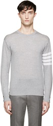 Thom Browne Grey Striped Sleeve Sweater