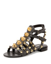 Balenciaga Studded Caged Flat Sandal Gris Fossile Women's