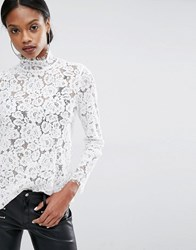 Y.A.S Ally Long Sleeve Lace Top Snow White