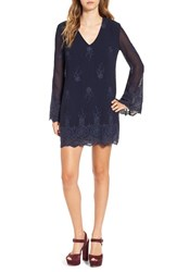 Wayf Women's 'Halifax' Embroidered Bell Sleeve Shift Dress Navy