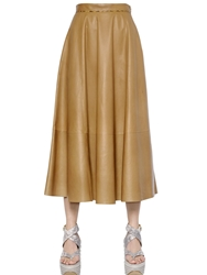 Salvatore Ferragamo Nappa Leather Midi Skirt Beige