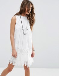 Asos Premium Ladder And Lace Swing Sundress With High Neck White