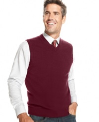Club Room Cashmere Solid Sweater Vest Cabernet