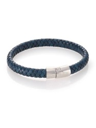 Tateossian Leather And Sterling Silver Classic Cobra Braided Bracelet Blue
