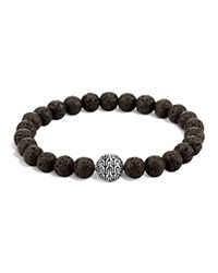 John Hardy Men's Sterling Silver Classic Chain Large Beaded Bracelet With Black Volcanic Rock