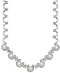 Belle De Mer Crystal 46 1 2 Ct. T.W. And Cultured Freshwater Pearl 10Mm Necklace In Silver Plated Brass